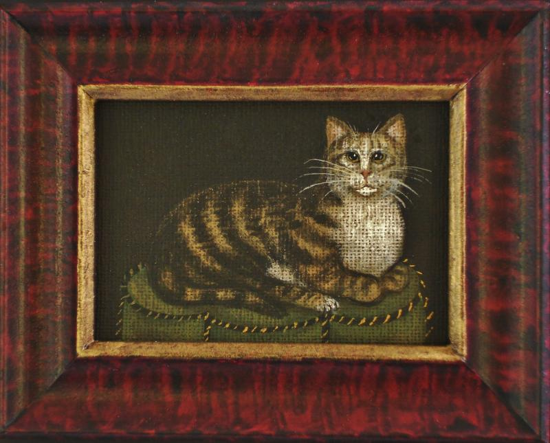 Miniature Cat Print in Hand Grained Frame 5X6  $38